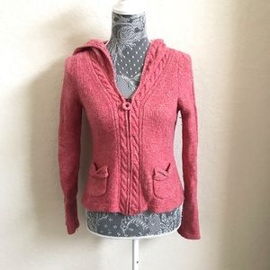 Sleeping on snow Medium pink wool zip up cardigan